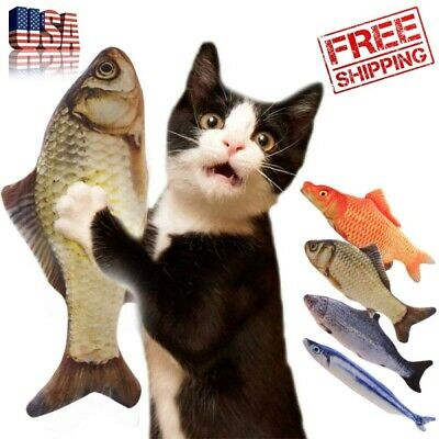 Artificial Fish Plush Cat Toys Mint Catnip Pet Supplies Sleeping Toy For Cats US