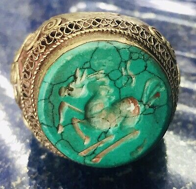 Large Arabic Islamic Antique Hand Carved Silver Malachite Stone Old Ring 11.75US