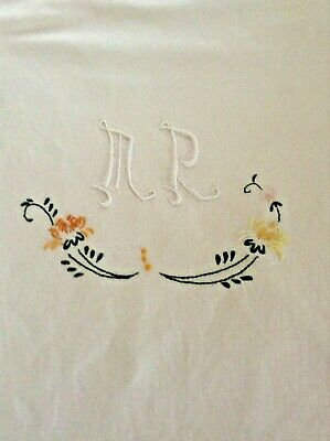 Vintage French  metis sheet, with embroidered monogram and flowers.