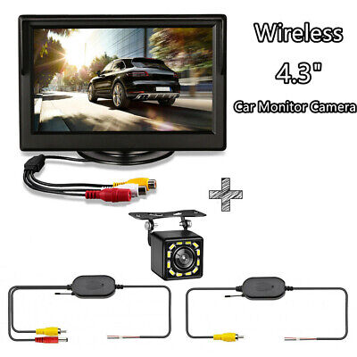 Car Wireless Rear View System 4.3'' HD Mirror Monitor+Nightvision Backup Camera