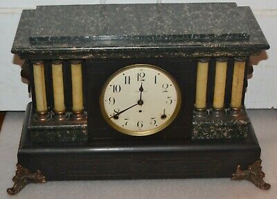 Antique Seth Thomas Adamantine Faux Marble Mantle Clock