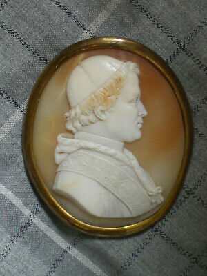 Kamee  Papst Gregor Xvi. 1840 Muschel  Shell Cameo Gemme Pope Papa Italia Italy