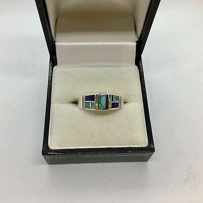 Native American Sterling Silver RING szQ with OPAL Onyx TURQUOISE Inlay UNISEX