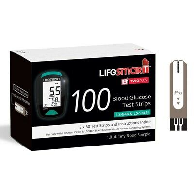 Lifesmart 2 Two Plus Blood Glucose Test Strips 100 Pack For Ls-946 & Ls-946N