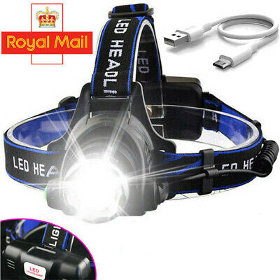 Headlamp Rechargeable 60000LM T6 LED Zoom Headlight Head Torch +USB Line UK #