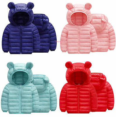 Kids Boys Girls Baby Winter Warm Cotton Down Jacket Hooded Quilted Coat Outwear