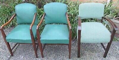 Vintage antique occasional wooden & fabric armchairs x 3 suit restoration