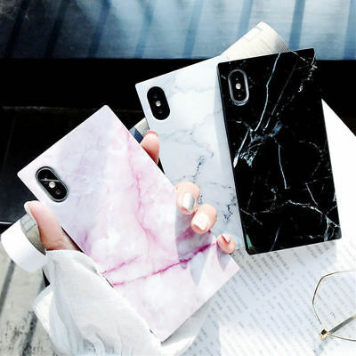 For iPhone X 8 Plus 7 6 Square Cute Granite Marble Couple Glossy Soft Case Cover