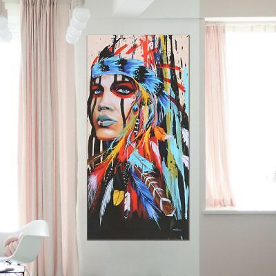Indian Woman Abstract Canvas Print Art Painting Picture Home Hanging Wall Decor