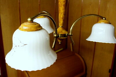 Antique French Bird Eyes 3 Arms Chandelier Metal & Wood Ceiling Lamp Reduced Now