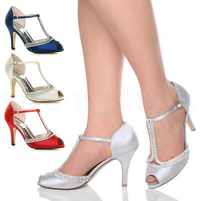 Womens Ladies High Heel Diamante T-Bar Peep Toe Prom Wedding Bridal Sandals Size