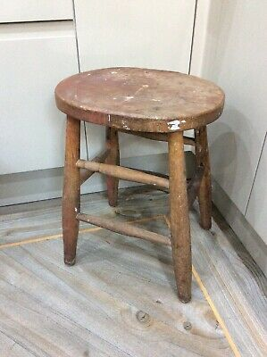 Vintage ,old Wooden Stool , 4 Legged , Solid Oak