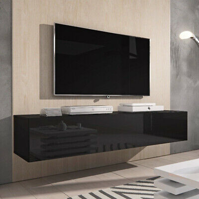High Gloss Wall Mounted TV Cabinet  Floating Entertainment Unit - 140cm