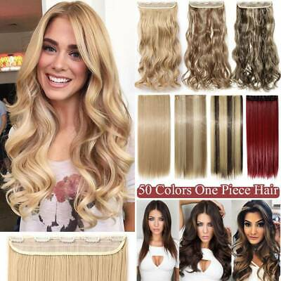 UK Real Natural One Piece Long Straight Curly Clip In Hair Extensions Full Head