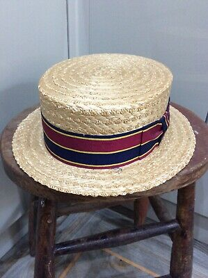 Dunn & Co Straw , Woven , Boaters Hat , Navy & Red Ribbon