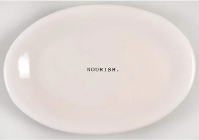 Rae Dunn Dish Authentic Artisan Collection Oval Serving Plate NOURISH Design New