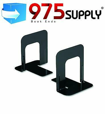 Metal Library Bookends Book Support Organizer Nonskid Heavy Gauge Steel Black