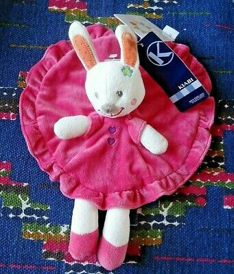 In / Doudou Plat Rond Lapin Rose Revers Orange Pois Coeur Violet Nicotoy  Neuf
