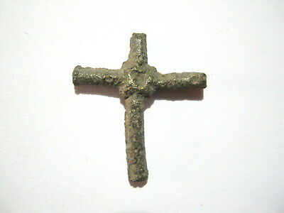 Medieval Byzantine Bronze Cross Amulet ca.10th-12th Century AD
