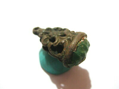 Genuine Medieval Byzantine Bronze Jewelry Pendant with Gem Stone