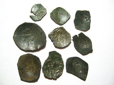 Lot of 9 Byzantine Bronze Scyphate Cup-shaped coins 11th–14th Century AD