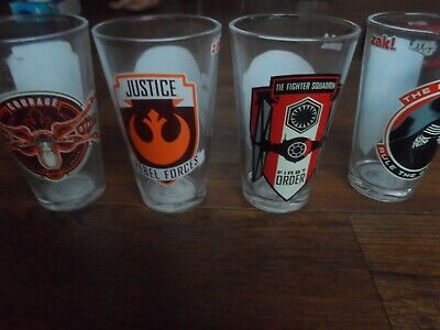 Star Wars The First Order  4 Piece Glass Set. Zak Disney 16 Oz