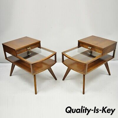 Vintage Pair Mid Century Danish Modern Walnut & Glass Two Tier Step End Tables