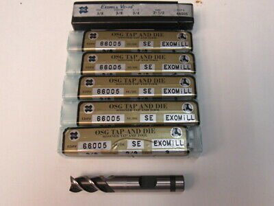 Lot Of Six  - 3/8 Powdered Metal - 3 Flute - 50 Degree Helix - Osg End Mill