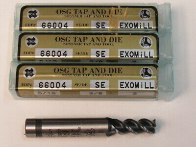 Lot Of Three - 5/16  Powdered Metal - 3 Flute - 50 Degree Helix - Osg End Mill