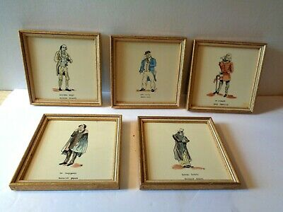 (5) Vintage/Antique Hand Painted Tiles Of Pickwick, Copperfield, Nickleby