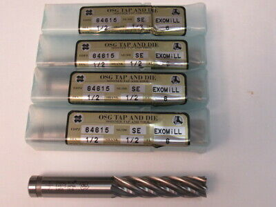 """Lot Of Four  - 1/2 - Six Flute   - Powdered Metal - 2"""" Loc  - Osg End Mill"""
