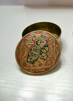 Vintage Solid Brass Hand Painted Enamel Round Trinket Boxe  India