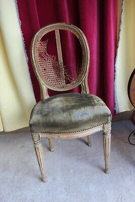 Antique French Vintage Chair Carved Wood For Restoration Chabby Chic For Sale