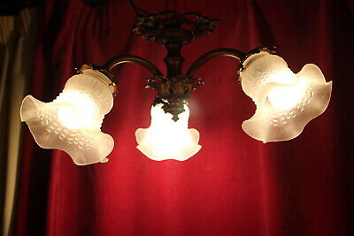 Antique French Vintage Solid Bronze/Glass Ceiling Lamp Opaque White Glass Shade