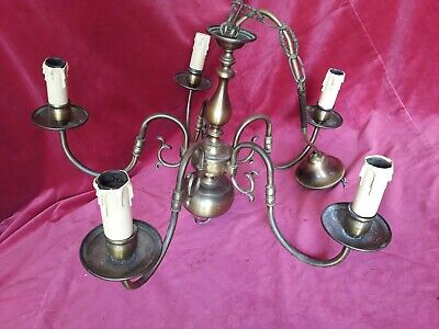 French Vintage Brass Lamp Chandelier 5 Lights Parisian Chateau