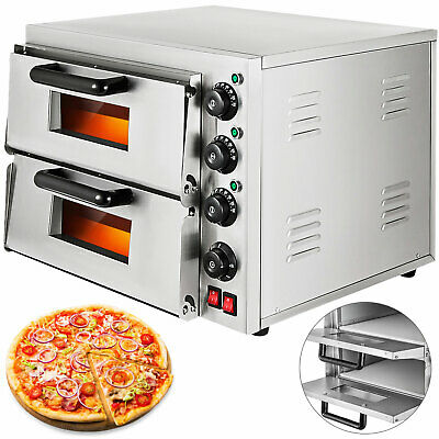 Electric 3000W Pizza Oven Double Deck Cooking Restaurant Fire Stone Catering