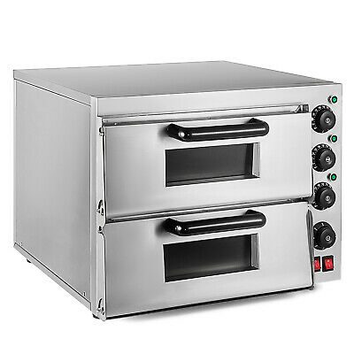 Electric 3000W Pizza Oven Double Deck Restaurant Kitchen Catering TERRIFIC VALUE