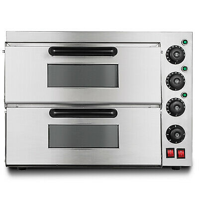 Electric 3000W Pizza Oven Double Deck Cooking Rotisserie Kitchen INDUSTRY SUPPLY