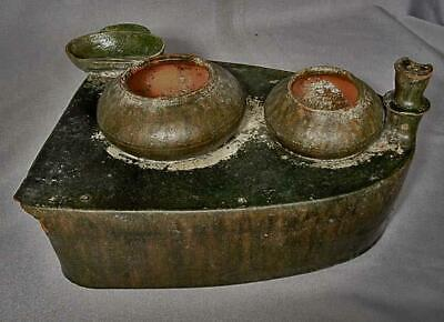 Ancient Chinese Han Dynasty 25-220 A.D. Green Glazed Pottery Cooking Stove Model