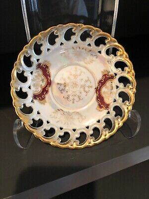 Reticulated Lusterware Handpainted Royal Sealy China Japan Small Dish/Saucer