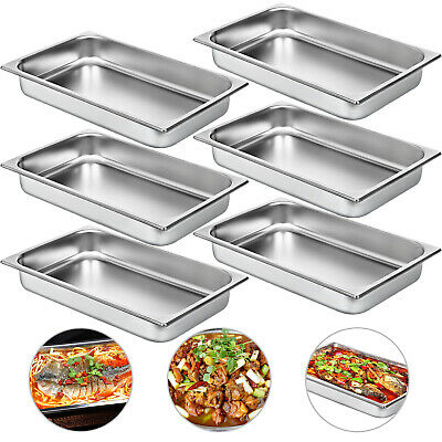 6 X Marie Tray Steam Pans Bain 65mm Deep Anti-Jam Stacking Chafing Dish Polished