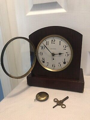 Antique Vintage Seth Thomas 8 Day Tambour Tombstone Shelf Mantel Clock w/ Key