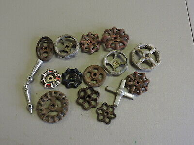 Vintage Group Lot of 16 Small and Large Metal Faucet Handle Knobs, Salvage