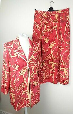 Vintage Chianti Womens Red Yellow Occasion Suit Size 16 Jacket Skirt Bold 80s