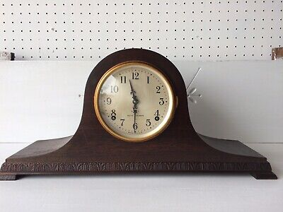 Antique SETH THOMAS 8 Day Mahogany Tambour Mantle Clock 89 Movement Key Pendulum