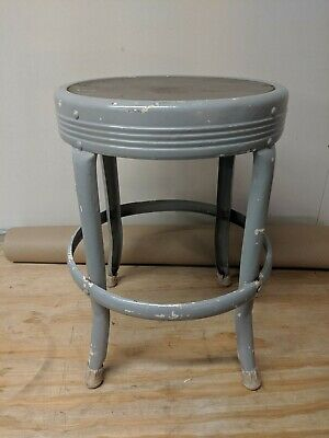 "Vtg Seat Master Stool Russakov Company 17"" Seat 12 Inches Across"
