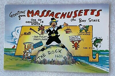 VINTAGE STATE POSTCARD Promo - MASSACHUSETTS - The Bay State