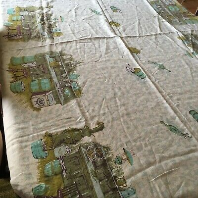 "VTG KITCHEN THEMED 1940's Tablecloth.Linen.White/Aqua,Brown,Yellow-Green.64""X 52"