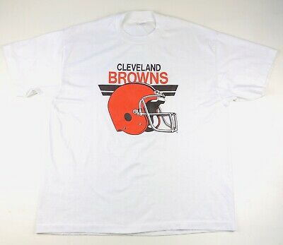 Trench Cleveland Browns Vintage Tshirt Sz XL Single Stitch White NFL Football
