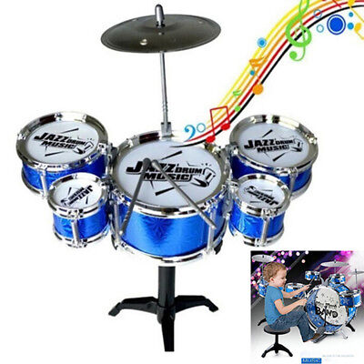 Jazz Drum Pwith 5 Drums layset Percussion Musical Instrument Gifts for Kids~GQ